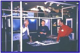 Pascal with Jean-Michel Cousteau and Ariel Fuchs during the festival, Antibes 1997