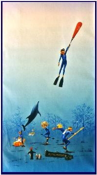 an history of diving, Dema 2001, painting by Pascal Lecocq