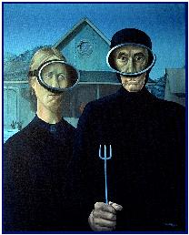 Last painting: Couple of American Gothic Divers, oil on canvas by Pascal lecocq, a pastiche of Grand Wood's masterpiece
