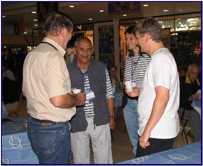Albert Falco and Pascal Lecocq at Pascal's opening in Antibes 2005, pic by J.Protta