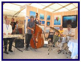 Opening pascal Lecocq exhibition with B.Abeille and the orchester of the Antibes Festival 2006, pic T.Emoto