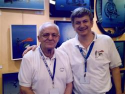 Pascal Lecocq with Calypso crew member Claude Wessly at the Paris Dive show 2007