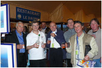 Filmaker Christian Petron, Painter Andre Laban, former director of the show Pierre Coton with Pascal Lecocq, pic by G.lecocq, Antibes 2007