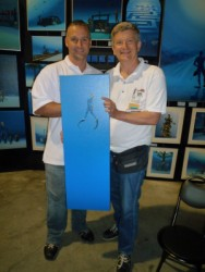 Pascal with art collector at Scuba Show 2010